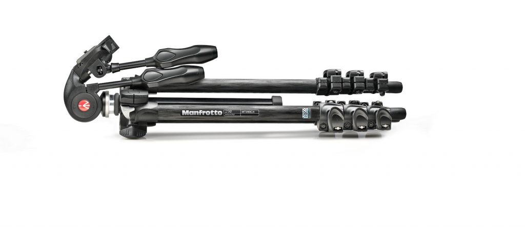 Manfrotto - Kit: 293 carbon tripod (4S) + 3-way head w. foldable handles